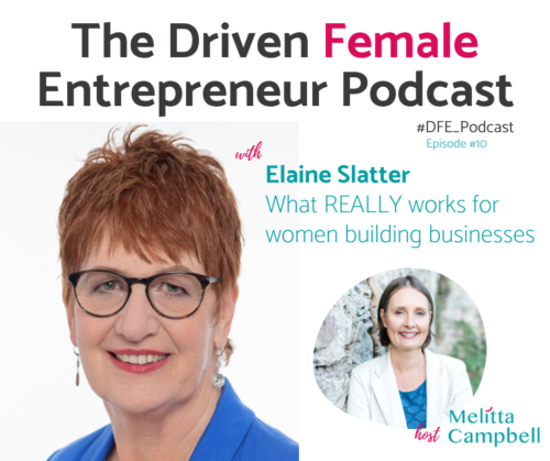 Elaine Slatter: Driven Female Entrepreneur Podcast. What REALLY works for women building businesses.